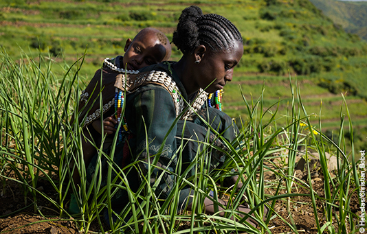 A woman in Ethiopia tends her crops, her child on her back.