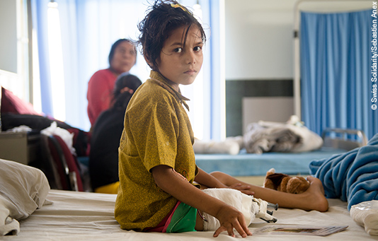 A Nepalese girl being treated in hospital following the earthquake.