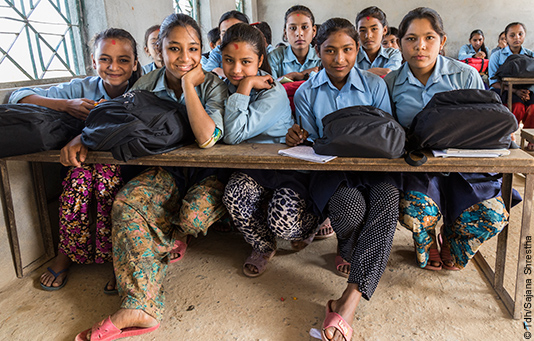 Girls in a makeshift classroom following the earthquake in Nepal.
