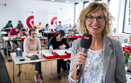 Ladina Spiess, voice of Swiss Solidarity, on a national fundraising day.