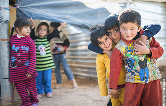 Syrian refugee children in a refugee camp in Jordan.