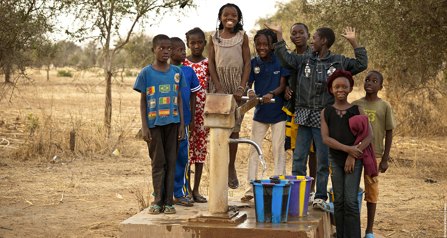 Children at a newly constructed well.