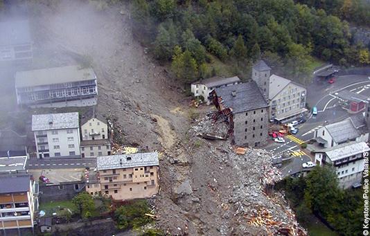 Das vom Unwetter zerstörte Dorf Gondo