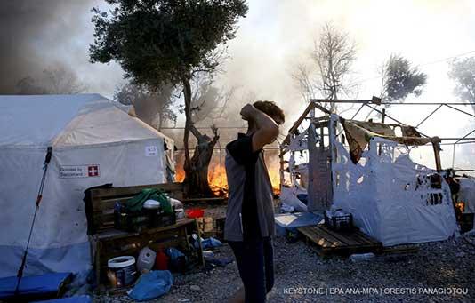 Lesbos: Incendie dans le camps de réfugiés Moria